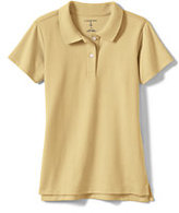 Classic Little Girls Short Sleeve Fem Fit Interlock Polo-White