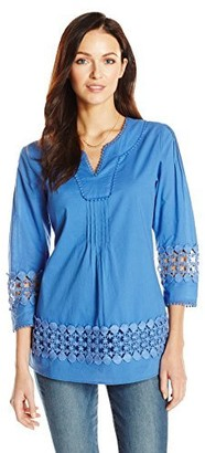 Ella Moon Women's Crystal 3/4 Sleeve Placement Lace Top