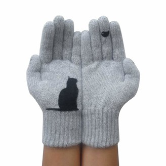TIFIY Ladies Cable Knit Gloves Mittens Half Finger Gloves Autumn And Winter Outdoor Warm Cat Printing Gloves