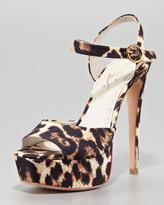 Alice + Olivia Lena Leopard-Print Canvas Platform Sandal