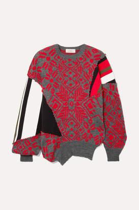 Preen by Thornton Bregazzi Vera Paneled Intarsia Wool-blend Sweater - Red