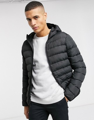 French Connection padded hooded zip through jacket-Black