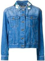 Muveil embellished collar denim jacket - women - Cotton - 38