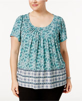 Style&Co. Style & Co Plus Size Floral-Print Pleated-Neck Top, Only at Macy's