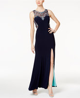 Betsy & Adam Petite Embellished Illusion Gown
