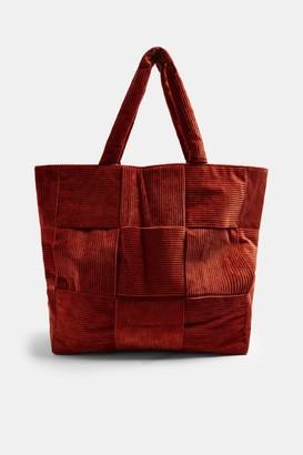 Topshop Rust Corduroy Weave Large Tote Bag