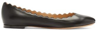 Chloé Lauren Scallop-edge Leather Flats - Black