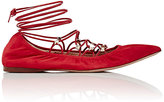 Valentino Women's Rockstud Lace-Up Skimmers-RED