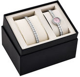 Bulova Crystal-Accented Stainless Steel Watch and Tennis Bracelet Box Set