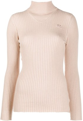 Courreges Mock Neck Ribbed Sweater