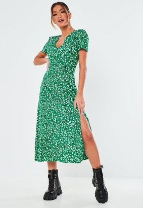 Missguided Green Leopard Button Midi Tea Dress