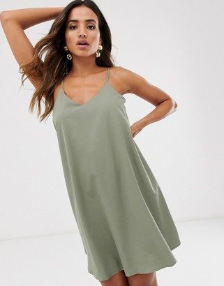 UNIQUE21 satin cross back slip dress-Green