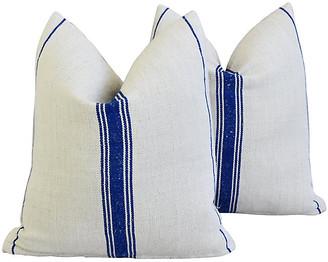 One Kings Lane Vintage French Homespun Grain Sack Pillows - Pr