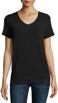 Neiman Marcus Short-Sleeve V-Neck Tee, Black