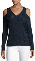 Velvet by Graham & Spencer Velvet Cold-Shoulder Textured Knit Sweater, Navy