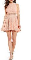 Jodi Kristopher Illusion Waist Lace Mock Neck A-Line Dress
