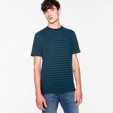 Paul Smith Men's Navy And Petrol 'Zig-Zag' Stripe T-Shirt