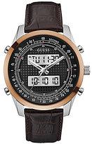 GUESS Ani/Digi Leather-Strap Watch