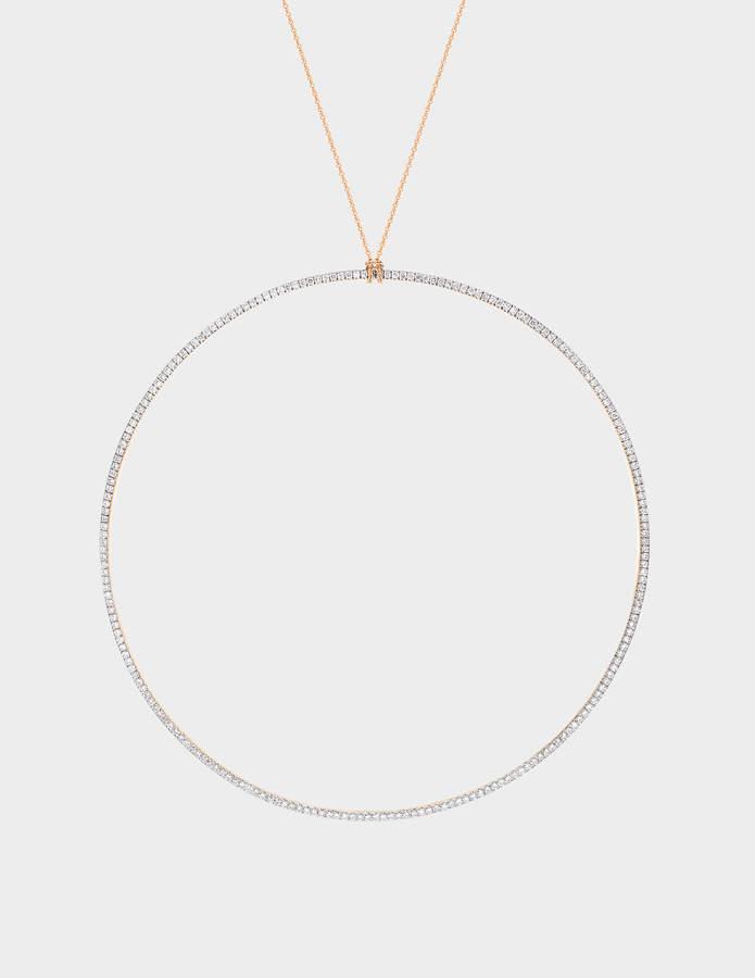 ginette_ny Jumbo Diamond Circle 18-karat rose gold necklace