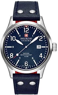 Swiss Military Hanowa Mens Analogue Quartz Watch with Leather Strap 06-4280.04.003CH