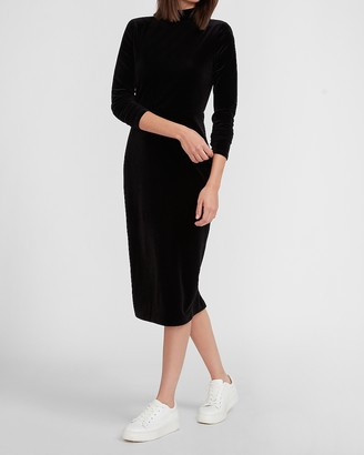 Express Velvet Mock Neck Midi Dress