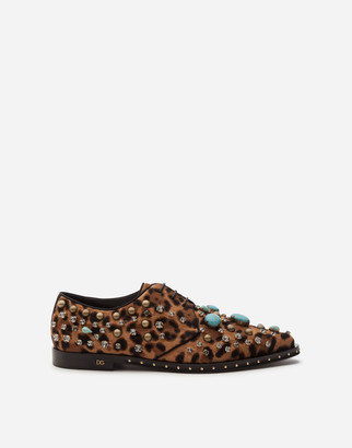 Dolce & Gabbana Derby Shoes In Pony-Style Calfskin With Jewel Embroidery And Leopard Print