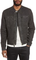 John Varvatos Men's Band Collar Linen Jacket