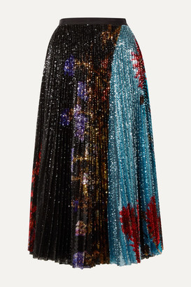 Dries Van Noten Pleated Sequined Floral-print Tulle Midi Skirt - Black