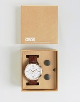 Asos Watch And Cufflink Set In Gunmetal