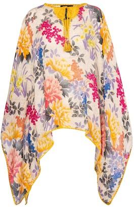 Etro Floral linen poncho