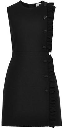 MSGM Button-embellished Ruffle-trimmed Crepe Mini Dress