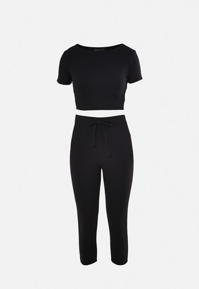 Missguided Black Corset Top And Joggers Co Ord Set