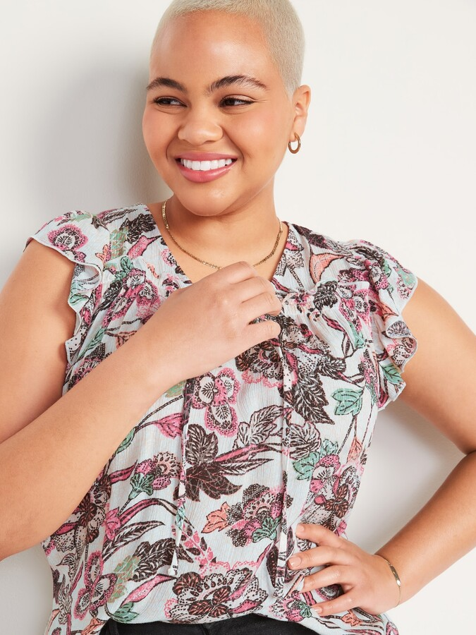 Thumbnail for your product : Old Navy Ruffled Crinkle-Texture Tie-Front Blouse for Women