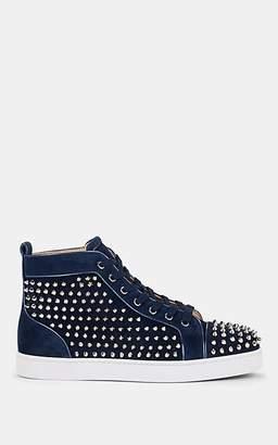 Christian Louboutin Men's Louis Orlato Flat Suede Sneakers - Navy