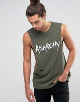 Asos Sleeveless T-Shirt With Anarchy Print And Distressing