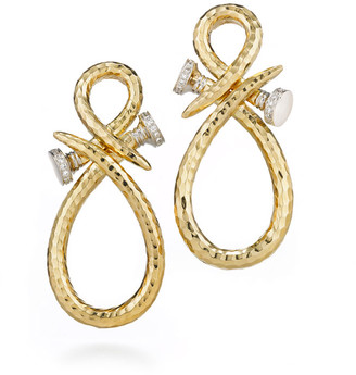 David Webb 18k Infinity Nail Earrings with Diamonds