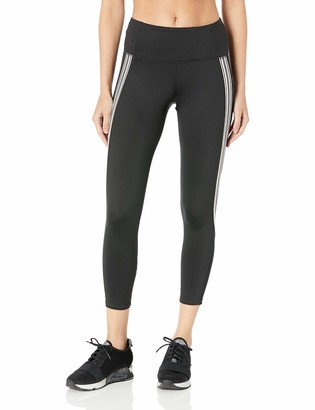Andrew Marc Women's 7/8s Compression Legging with Stripe Elastic Tape and Mesh