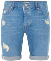 Topman Bright Blue Ripped Stretch Skinny Denim Shorts