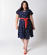 Unique Vintage Plus Size 1940s Navy Floral Ashcroft Short Sleeve Swing Dress