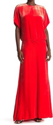 Valentino Cutout Back Short Sleeve Velvet Gown