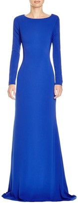 JS Boutique Women's Ls Bateau Neck Gown W/Wide Criss Cross Back Straps