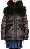 Sacai Shearling & Nylon Down Puffer Coat