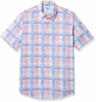 Izod Men's Big & Tall Fit Saltwater Dockside Chambray Short Sleeve Button Down Plaid Shirt
