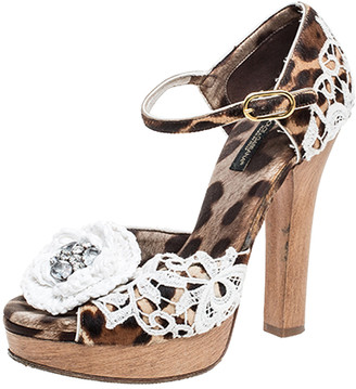 Dolce & Gabbana Brown Leopard Print Calf Hair Lace Detail Embellished Platform Sandals Size 37