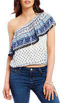 Living Doll One-Shoulder Ruffle Pom-Pom-Trim Printed Top