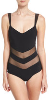 La Petite Robe di Chiara Boni Ione Illusion Mesh-Inset One-Piece Swimsuit, Black