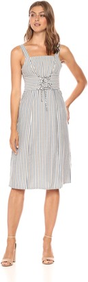 Ali & Jay Women's Iconic Sleeveless Square Neck Midi Dress with Corset Detail
