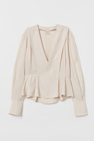 H&M V-neck Blouse - Beige