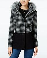 Celebrity Pink Faux-Fur-Trim Plaid Walker Coat