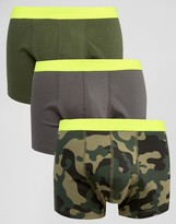 Asos Trunks With Camo Print & Neon Waistband 3 Pack